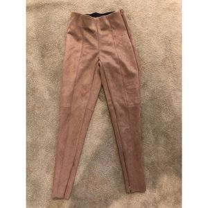 Zara Pants - Tan Suede Zara leggings with zipper detail